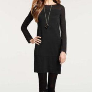 NEW ANN TAYLOR Zip Long Sleeve Dress Black PETITE